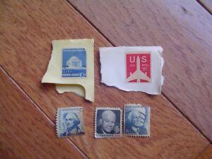 5 U.S. postage stamps rare Washington 5 c, Eisenhower, Jefferson, Wright,US 11c