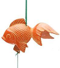 Japanese Cast Iron Orange Goldfish Furin Wind Chime #485-081 Made in Japan