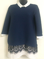 Ex NEW LOOK: Size 10-20 Navy Textured Peter Pan Collar Shirt Jumper Blouse Top