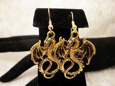 Handmade Winged DRAGON Bright Golden Metal Charm Dangle Surgical Steel Earrings