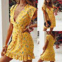 Women Summer Floral Wrap Tie Waist Bodycon Mini Dress Short Sleeve Party Dress