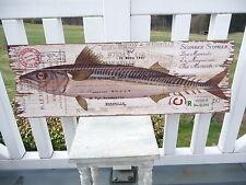 NEU Vintage Holzbild Wandbild Makrele Wanddeko 30x90cm Holz Retro Antiklook NEU