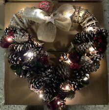 38cm Heart Shape Christmas Wreaths with 20 led lights