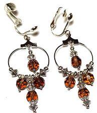 a Pair of Brown Hoop Earrings Chandelier Silver Clip-on Glass Bead Drop Dangle