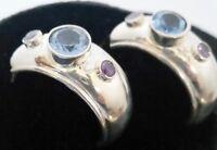 Vintage Sterling Silver Amethyst & Blue Topaz Half Hoop Pierced Earrings CPT