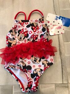 BABY GIRL DISNEY MINNIE MOUSE ONE PIECE TUTU BATHING SUIT-3-6 MOS-NEW
