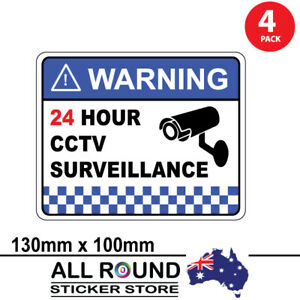 4 PACK Warning CCTV Security Surveillance Camera Sticker Sign 130mm x100mm