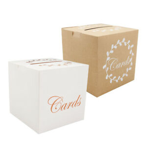 Wedding Anniversary Party Reception Kraft Paper Card Gift Post Box Brown White