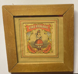 VTG 1880 Chromolithograph Tobacco Tin Label Fire Brigade Sexy Woman Firefighter
