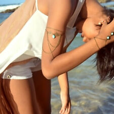 Punk Upper Hollow Armlet Body Jewelry Arm Chain Bangle Bracelet Turquoise xxll~-