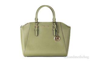 Michael Kors Ciara Saffiano Leather Large Top Zip Satchel Handbag