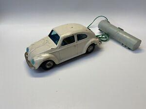 Vintage 1960s Bandai Remote Control Pressed Tin White Volkswagen Beetle Toy Car