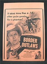 1950 Border Outlaws Old Movie Poster Broadside Spade Cooley Maria Hart B Edwards