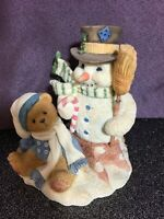 Cherished Teddies MITCH Bear, Snowman Figurine FRIENDSHIP NEVER MELTS AWAY 1997