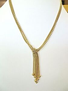 """Women's Gold Plated Bronze Necklace 18 """" Long Lariat Design"""