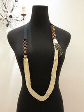 NIB MARNI KNITTED WOOL AND BRASS CHAIN W/DIAMANTE BROOCH