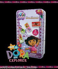 DORA THE EXPLORER 28 PIECE DOMINOS SET IN TIN GIRLS TOY CHILDREN KIDS GIFT GAME