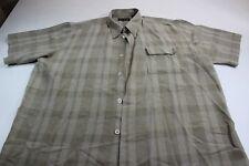 RETRO Pronti Thick Plaid Front Pocket Short Sleeve Button Front Shirt 4XL XXXXL