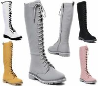 LADIES WORKER FLAT GRIP SOLE FUR LINED WINTER CALF KNEE HIGH WOMENS LACE BOOTS