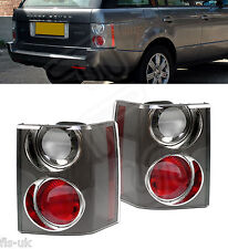 2 x LAND RANGE ROVER VOGUE L322 '02-'09 REAR TAIL LIGHT CLUSTER CARBON CLEAR/RED