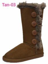 Women's Fur Mid-calf 4-Buttons Faux Soft Snow Winter Boot Flat Shoes 03