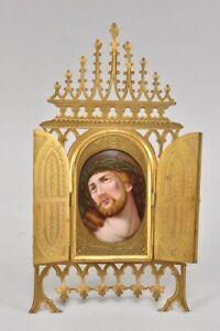 k49g07- Hausaltar/ Rahmen mit Porzellan Plakette Jesus, 19.Jh
