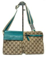 Authentic GUCCI GG Logo Waist Bag Body Bag Pouch Beige Turquoise Green Rank AB