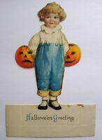 Vintage Halloween Diecut Placecard Ellen Clapsaddle Wolf Original Girl Pumpkins