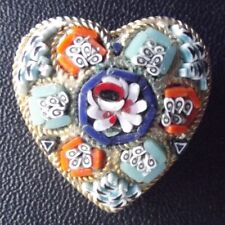 VINTAGE ANTIQUE ITALIAN MICRO MOSAIC GOLD METAL HEARTSHAPED PIN BROOCH