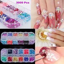 3000Pcs 3D Nail Art Tips Gems Glitter Crystal Rhinestone DIY Decoration W/ Case