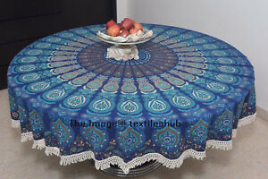 Indian Handmade Peacock Mandala Round Tapestry Table Cover Yoga Mat 100% Cotton.