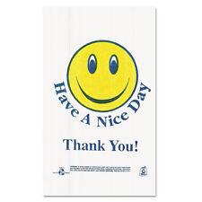 Barnes Paper Company Smiley Face Shopping Bags 12.5 Microns White 900/Carton