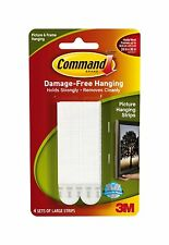 3M Command Damage Free Large Picture / Frame Hanging Strips (4 Pack) Ref: 17206