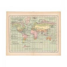 Antique color world map showing plant distribution from the 1875 Amer Cyclopædia