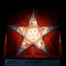 Lighted Crystal Like 5-Point Star Christmas Tree Topper~Clear Lights~New Decor