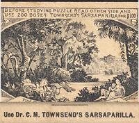 Dr Townsends Sarsaparilla 1800's Tapeworm Candy Puzzle RARE Victorian Trade Card