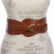 "Womens 3"" Wide High Waist Fashion Stretch Belt Size: L/XL 36-40 Color: Tan"