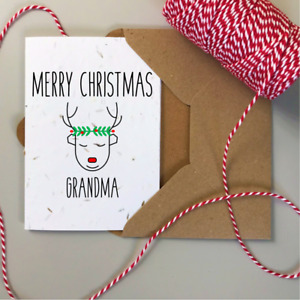 Personalised Christmas Cards, Plantable SEEDED card, Eco Friendly Recycle Rustic