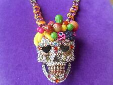 Betsey Johnson Authentic NWT Gold-Tone Fruit-Adorned Glitter Skull Necklace