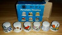 Vintage Lot Of 6 Porcelain Thimbles In Box Birds And Flowers 1977