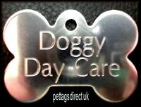 Pet Id Tag - DOG BONE BRASS or STAINLESS - S/M/L Tough CHEAPEST Disc Engraved !