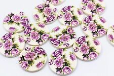 Purple Flower Wooden Buttons Floral Four Holes Sweater Coat DIY Large 30mm 20pcs
