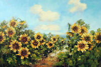 Sunflower Field Italy Flower Valley 24X36 Oil On Canvas Hand Painting STRETCHED