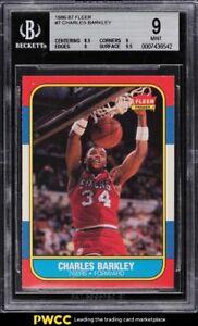 1986 Fleer Basketball Charles Barkley ROOKIE RC #7 BGS 9 MINT