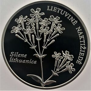 """Lithuanian SILVER coin 50 LT """" To the Sweet William Catchfly """" 2009"""