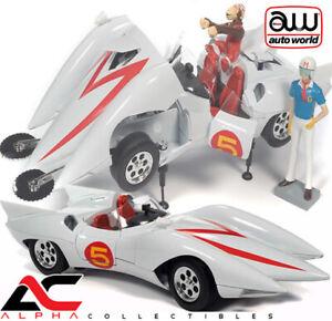 AUTOWORLD AWSS124 1:18 SPEED RACER MACH 5 W/CHIM CHIM & SPEED RACER FIGURE