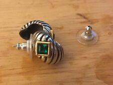 Joan Rivers Silvertone Green Stone Post Earrings with backs