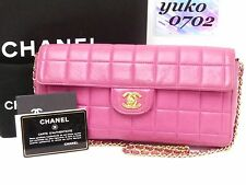 r58434 Auth CHANEL Pink Lambskin Leather East/West Flap Chain Evening Bag GHW