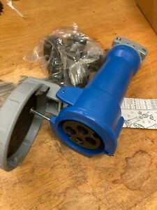 Hubbell Watertight Pin and Sleeve IEC Plug 3P 4-Wire 30A  240V Blue HBL430C9W