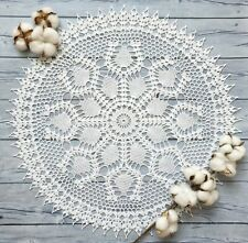 Hand crocheted lace white doily cotton handmade